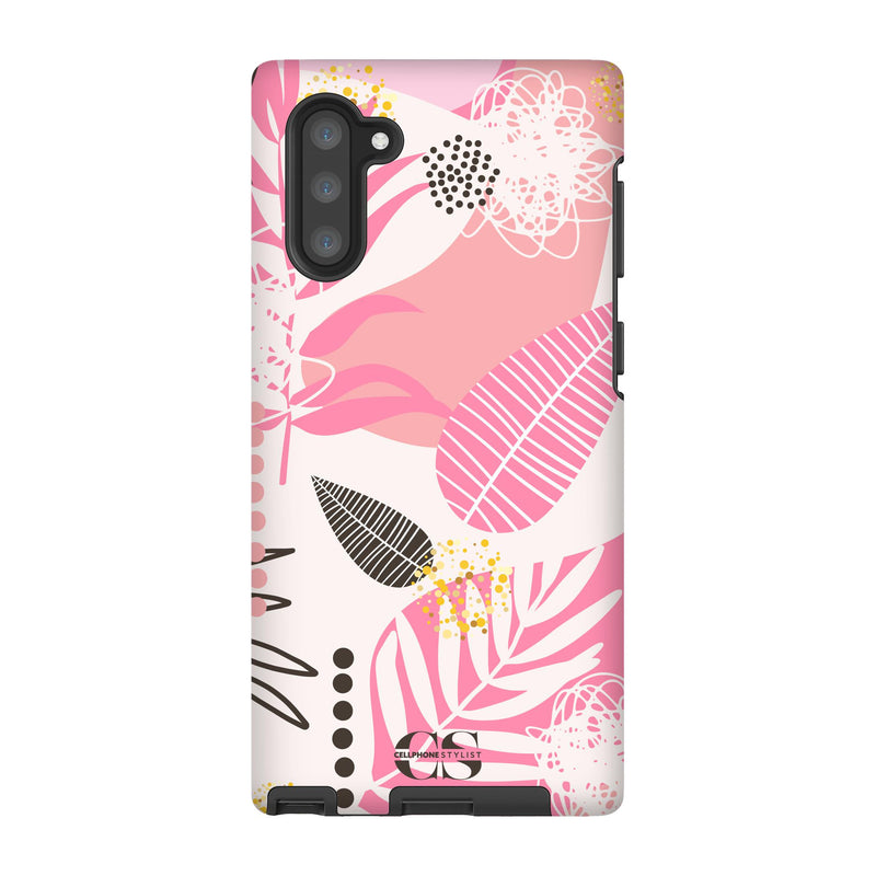 Leaf Me Alone - Pink (Galaxy) - Phone Case Galaxy Note 10 Tough Matte - Cellphone Stylist