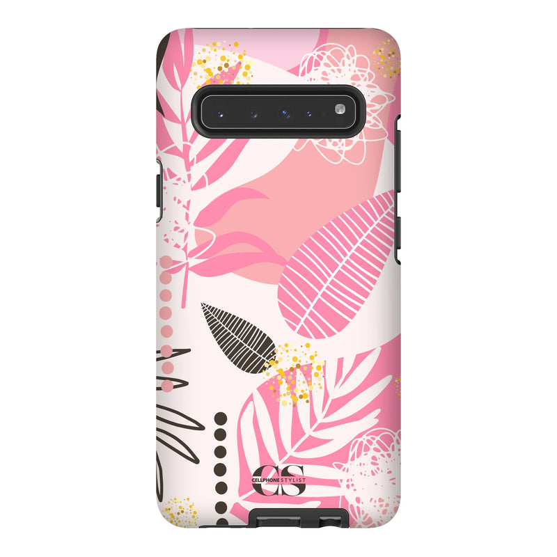 Leaf Me Alone - Pink (Galaxy) - Phone Case Galaxy S10 5G Tough Matte - Cellphone Stylist