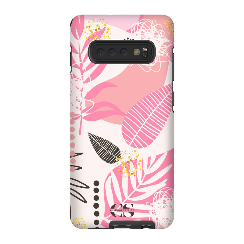 Leaf Me Alone - Pink (Galaxy) - Phone Case Galaxy S10 Plus Tough Matte - Cellphone Stylist