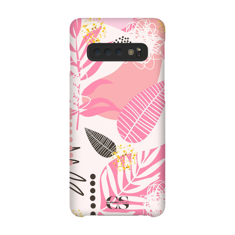 Leaf Me Alone - Pink (Galaxy) - Phone Case Galaxy S10 Snap Gloss - Cellphone Stylist