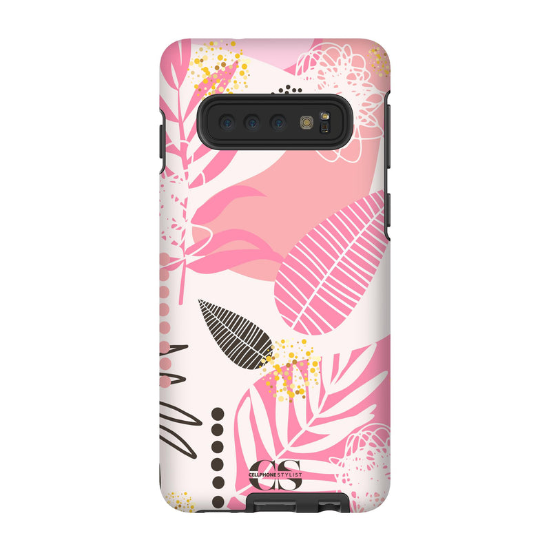 Leaf Me Alone - Pink (Galaxy) - Phone Case Galaxy S10 Tough Matte - Cellphone Stylist
