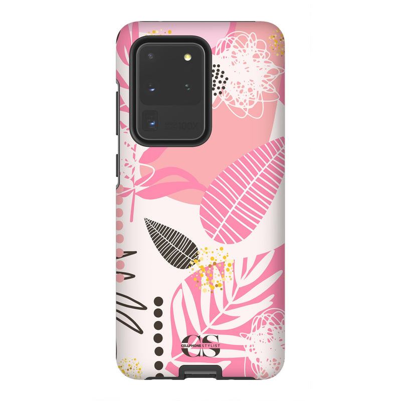 Leaf Me Alone - Pink (Galaxy) - Phone Case Galaxy S20 Ultra Tough Matte - Cellphone Stylist
