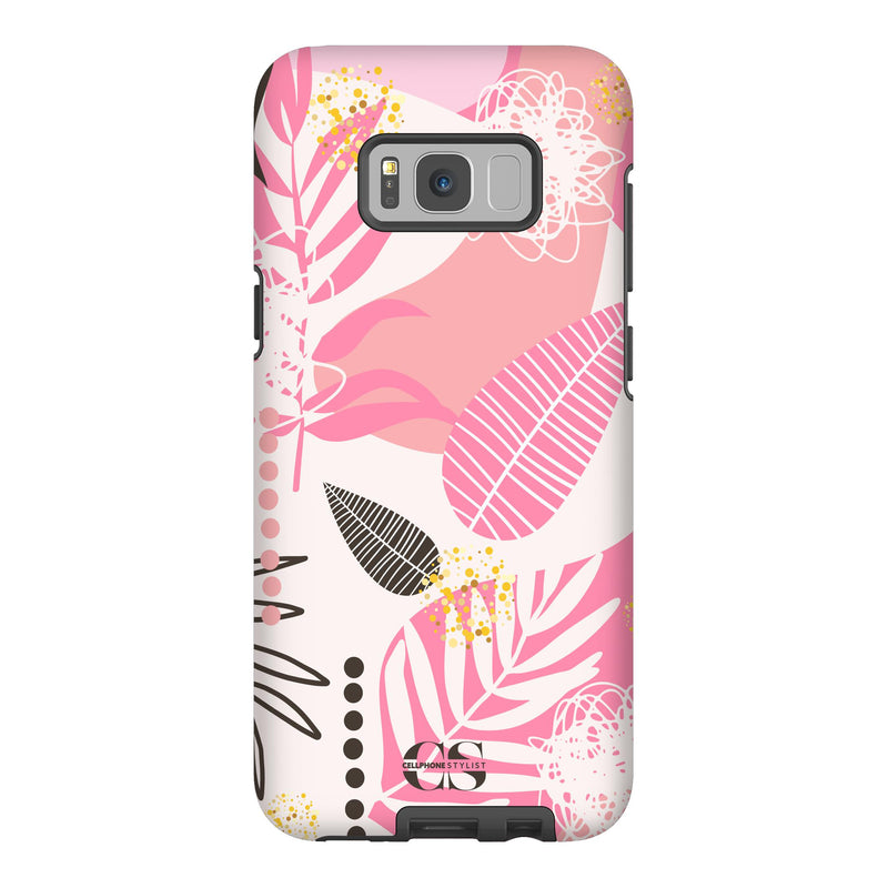 Leaf Me Alone - Pink (Galaxy) - Phone Case Galaxy S8 Plus Tough Matte - Cellphone Stylist