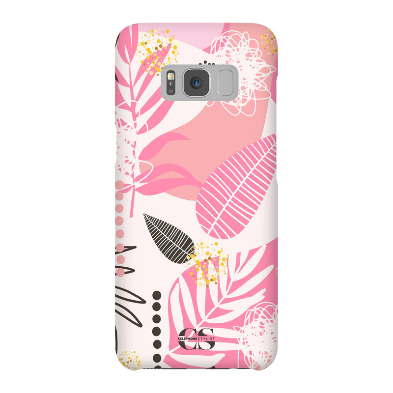 Leaf Me Alone - Pink (Galaxy) - Phone Case Galaxy S8 Snap Matte - Cellphone Stylist