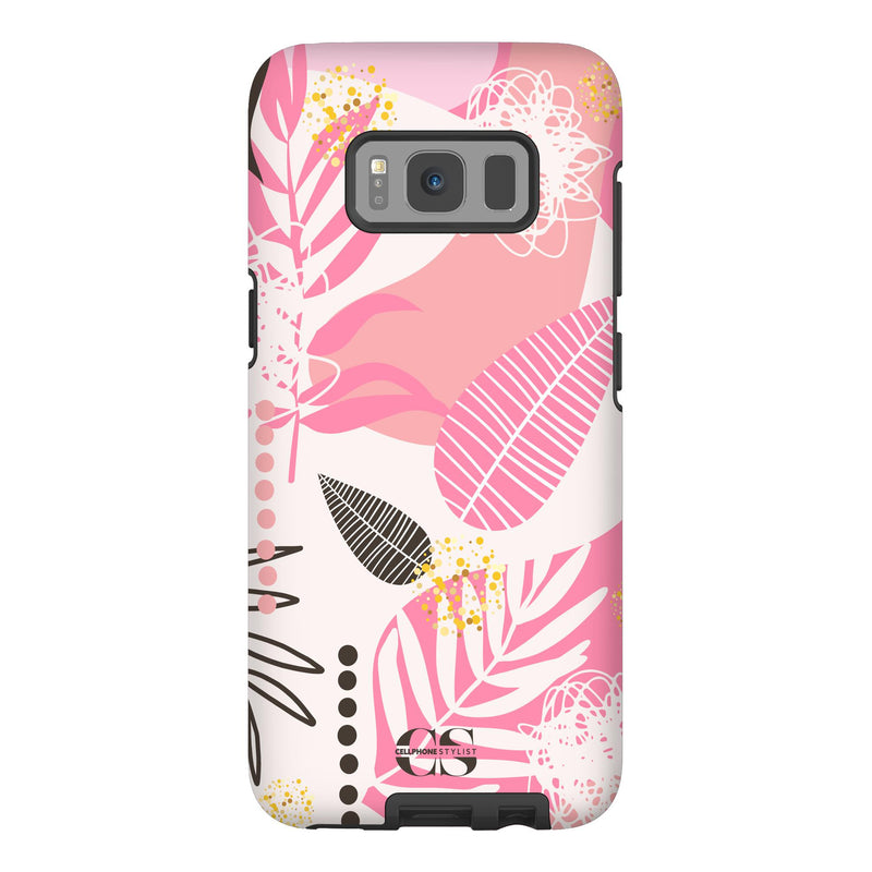 Leaf Me Alone - Pink (Galaxy) - Phone Case Galaxy S8 Tough Matte - Cellphone Stylist