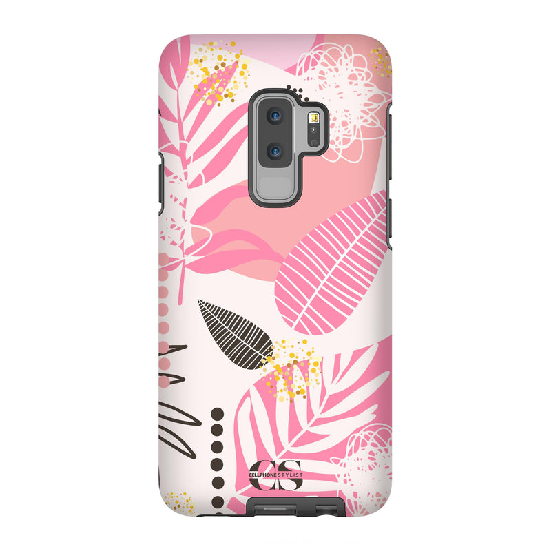 Leaf Me Alone - Pink (Galaxy) - Phone Case Galaxy S9 Plus Tough Matte - Cellphone Stylist