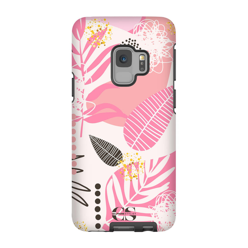 Leaf Me Alone - Pink (Galaxy) - Phone Case Galaxy S9 Tough Matte - Cellphone Stylist