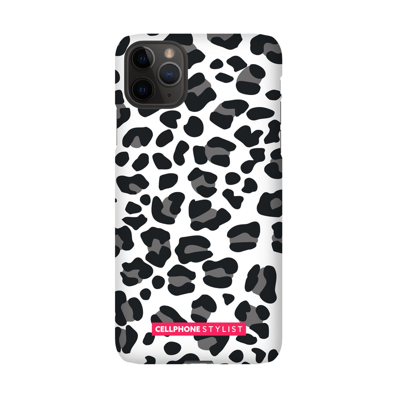 Leopard Print - Black/White (iPhone) - Phone Case iPhone 11 Pro Max Snap Gloss - Cellphone Stylist