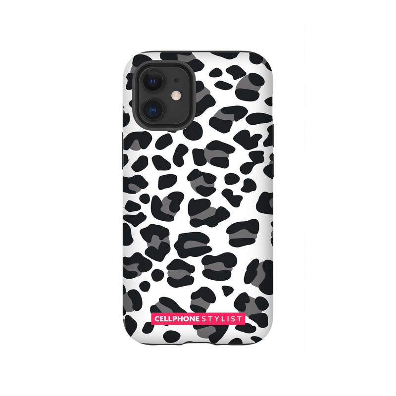 Leopard Print - Black/White (iPhone) - Phone Case iPhone 12 Mini Tough Gloss - Cellphone Stylist