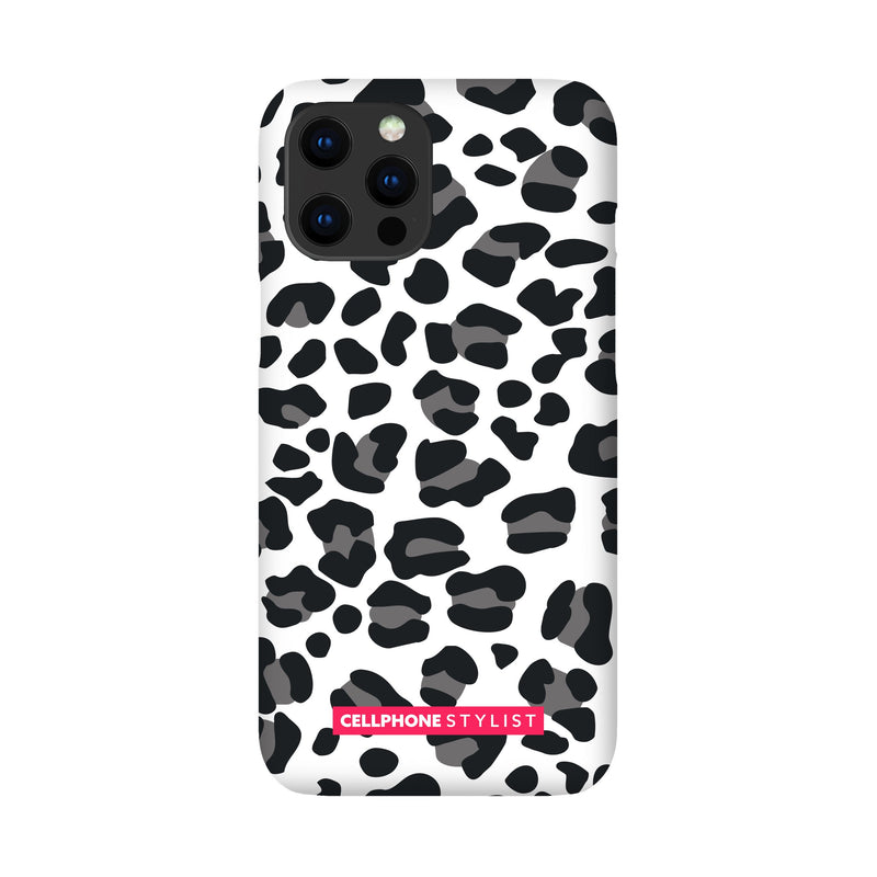 Leopard Print - Black/White (iPhone) - Phone Case iPhone 12 Pro Max Snap Gloss - Cellphone Stylist