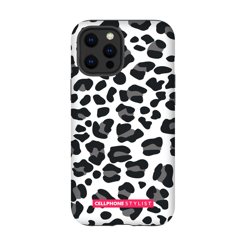 Leopard Print - Black/White (iPhone) - Phone Case iPhone 12 Pro Max Tough Gloss - Cellphone Stylist