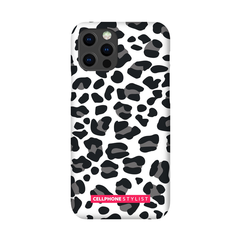 Leopard Print - Black/White (iPhone) - Phone Case iPhone 12 Pro Snap Gloss - Cellphone Stylist