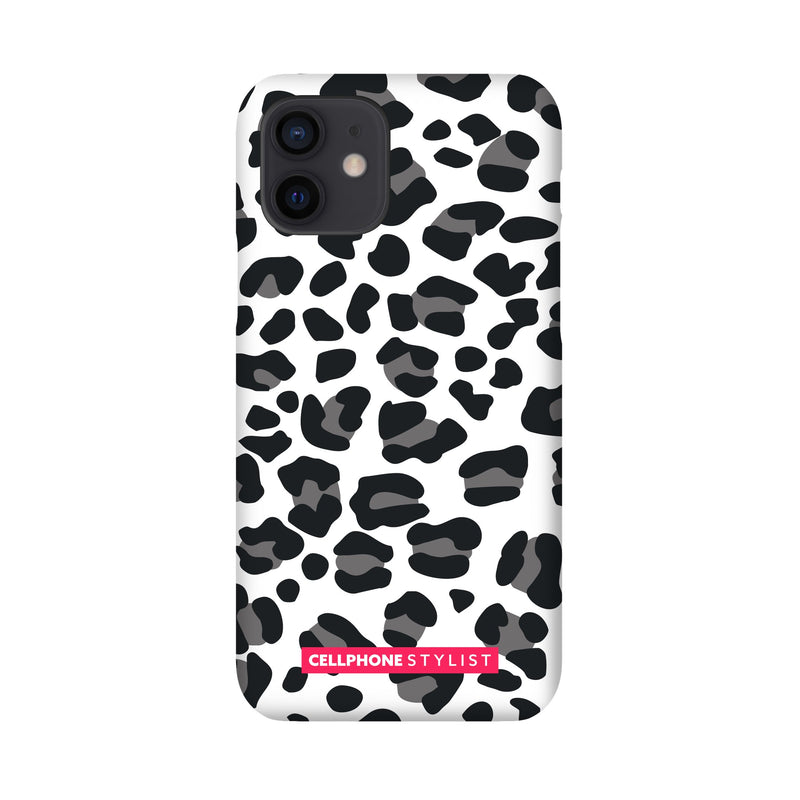 Leopard Print - Black/White (iPhone) - Phone Case iPhone 12 Snap Gloss - Cellphone Stylist