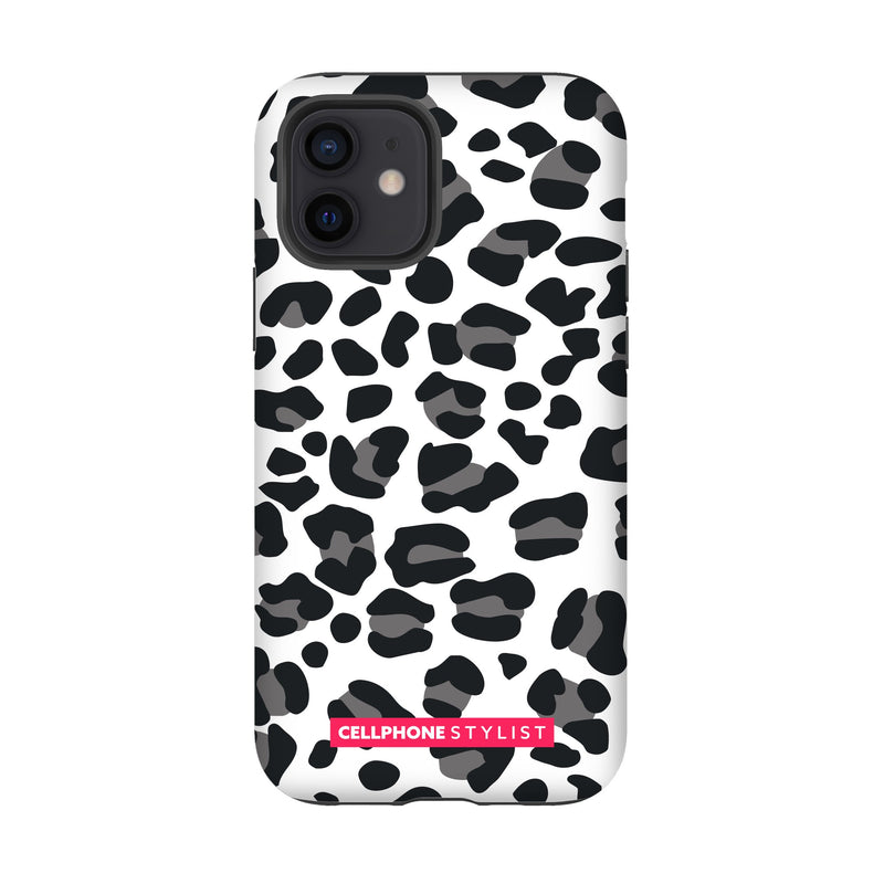 Leopard Print - Black/White (iPhone) - Phone Case iPhone 12 Tough Gloss - Cellphone Stylist