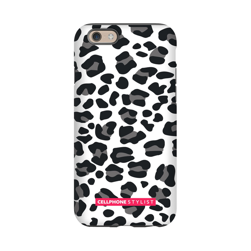 Leopard Print - Black/White (iPhone) - Phone Case iPhone 6 Tough Gloss - Cellphone Stylist