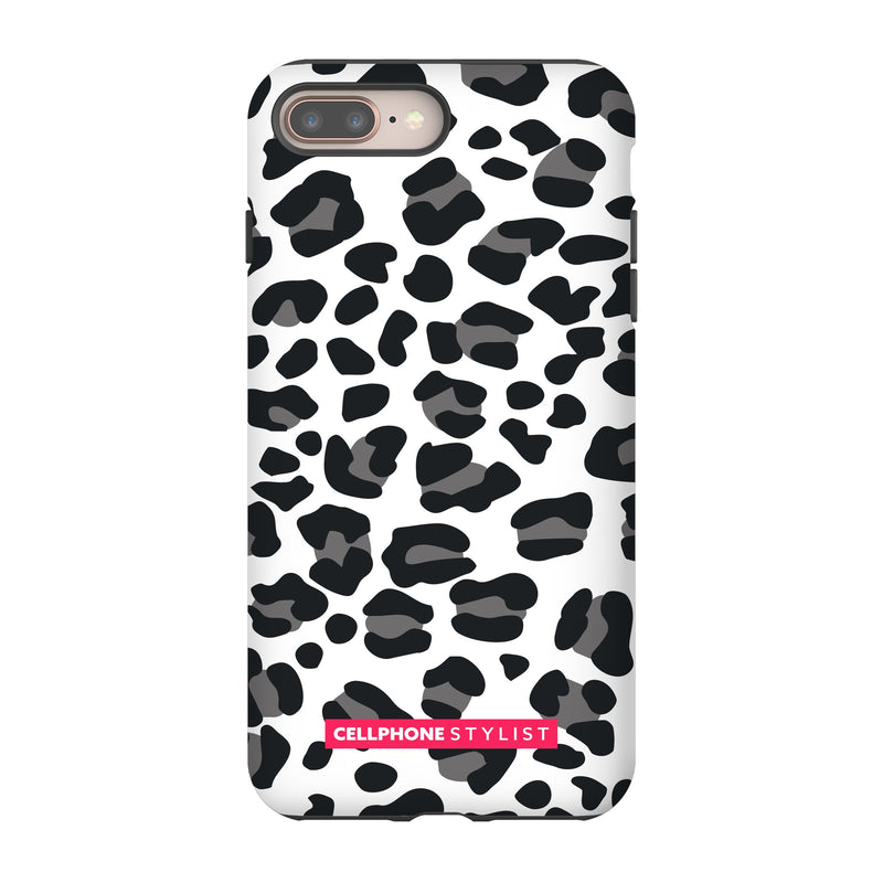 Leopard Print - Black/White (iPhone) - Phone Case iPhone 8 Plus Tough Gloss - Cellphone Stylist