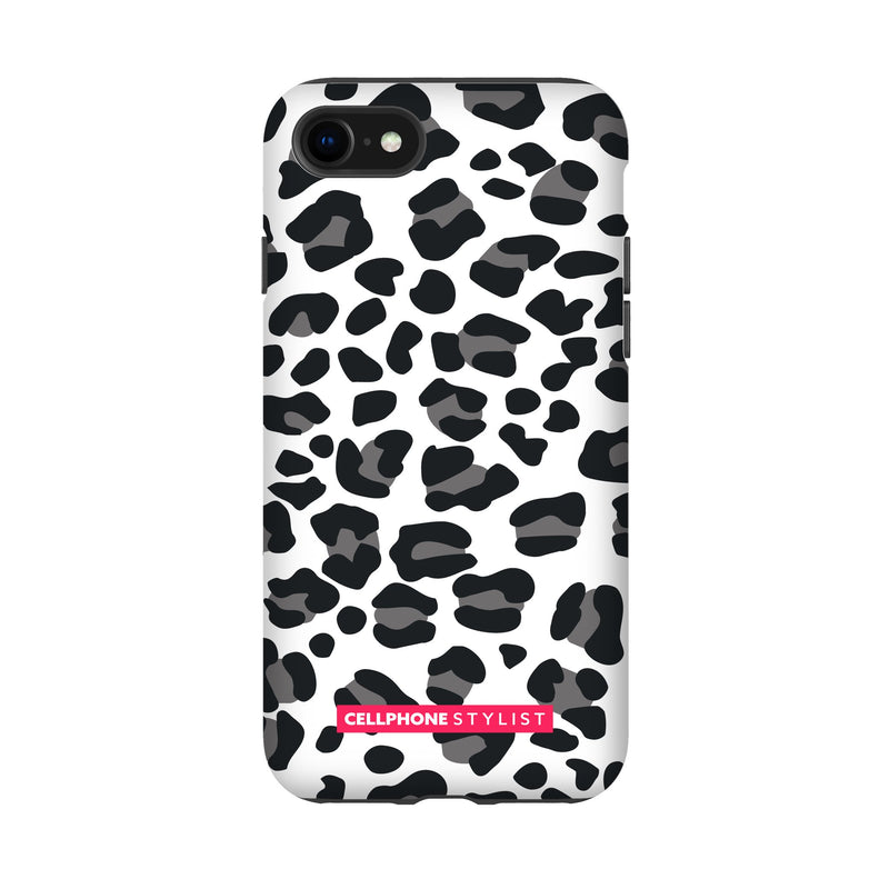Leopard Print - Black/White (iPhone) - Phone Case iPhone SE2 Tough Gloss - Cellphone Stylist