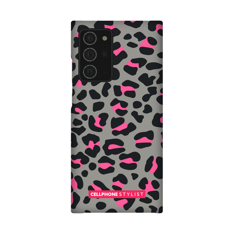 Leopard Print - Grey/Pink (Galaxy) - Phone Case Galaxy Note 20 Ultra Snap Gloss - Cellphone Stylist