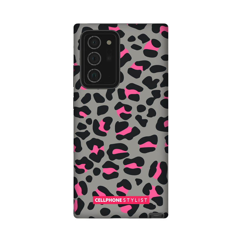 Leopard Print - Grey/Pink (Galaxy) - Phone Case Galaxy Note 20 Ultra Tough Gloss - Cellphone Stylist