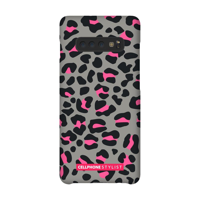 Leopard Print - Grey/Pink (Galaxy) - Phone Case Galaxy S10 Plus Snap Gloss - Cellphone Stylist