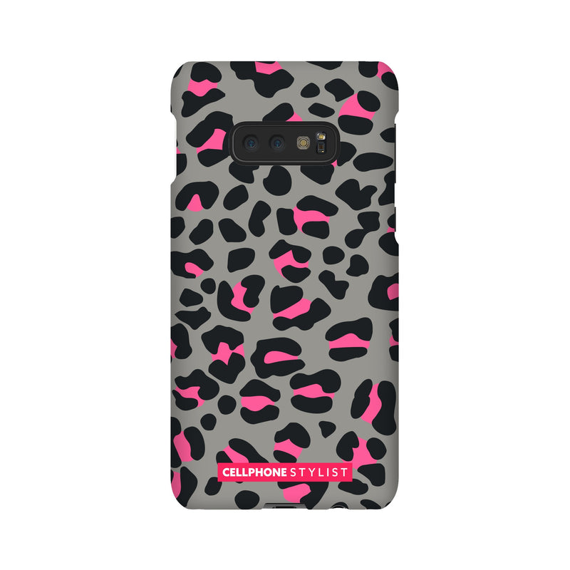 Leopard Print - Grey/Pink (Galaxy) - Phone Case Galaxy S10E Snap Gloss - Cellphone Stylist