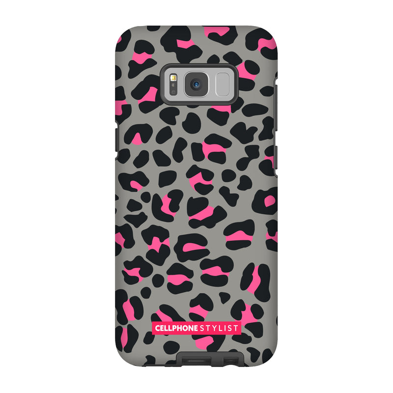 Leopard Print - Grey/Pink (Galaxy) - Phone Case Galaxy S8 Plus Tough Gloss - Cellphone Stylist