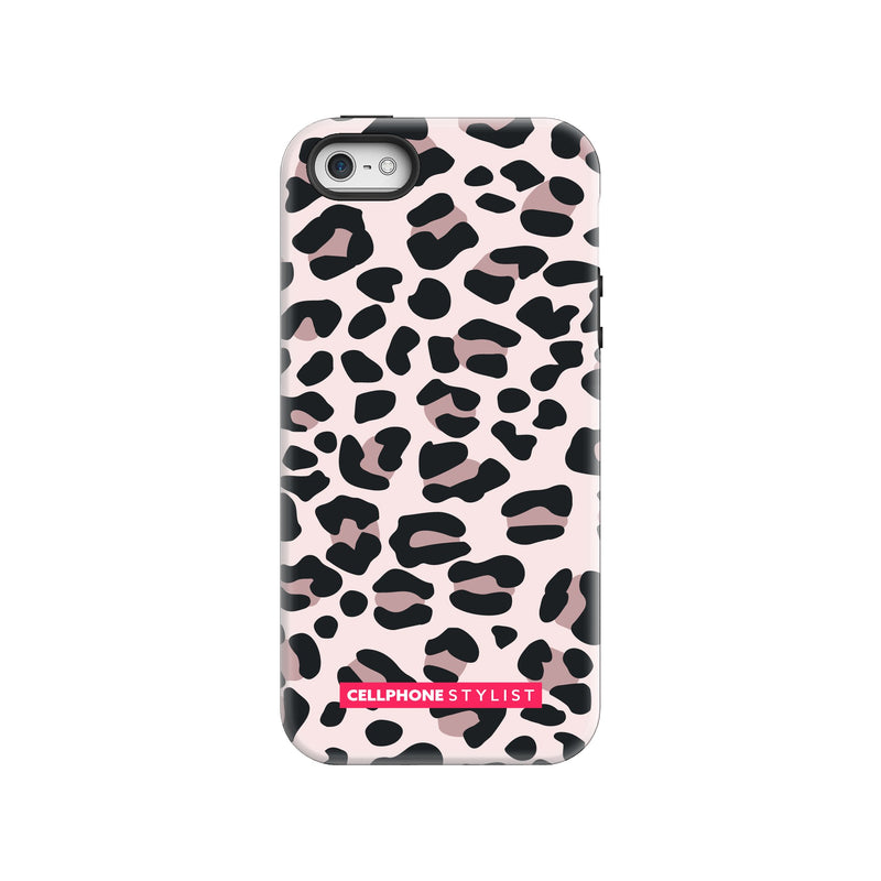 Leopard Print - Light Pink (iPhone) - Phone Case iPhone SE Tough Gloss - Cellphone Stylist