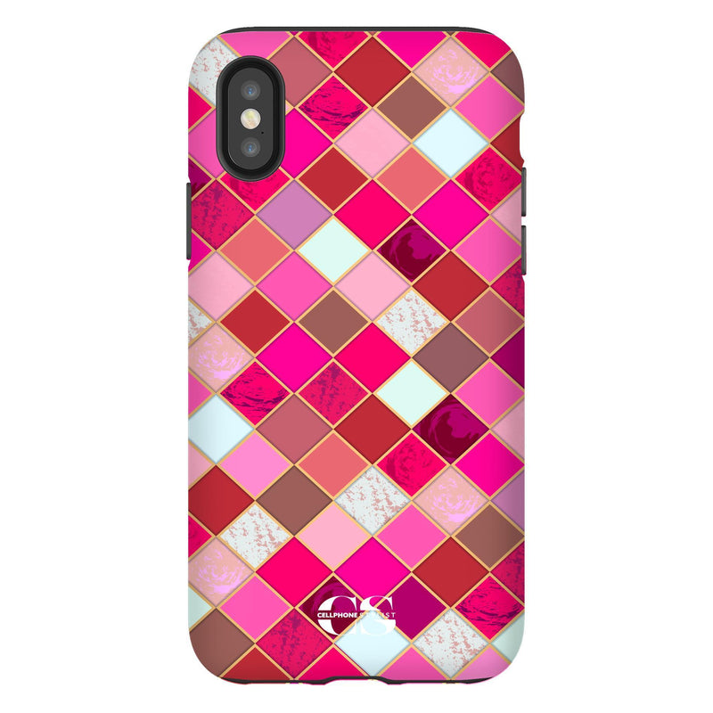 Lipstick Mosaic (iPhone) - Phone Case iPhone XS Tough Gloss - Cellphone Stylist