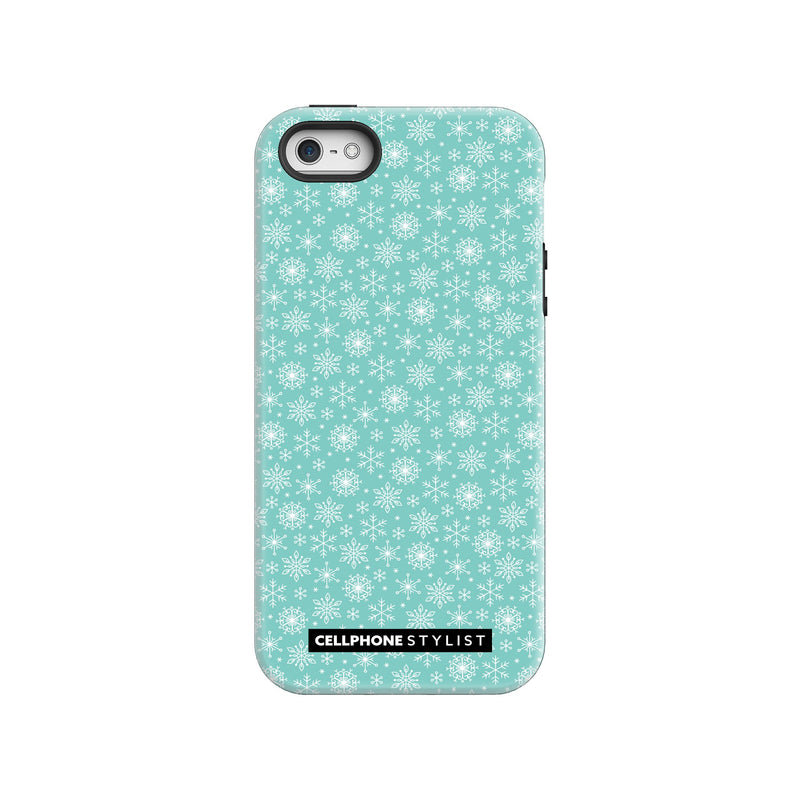 Merry Snowflakes (iPhone) - Phone Case iPhone SE Tough Gloss - Cellphone Stylist