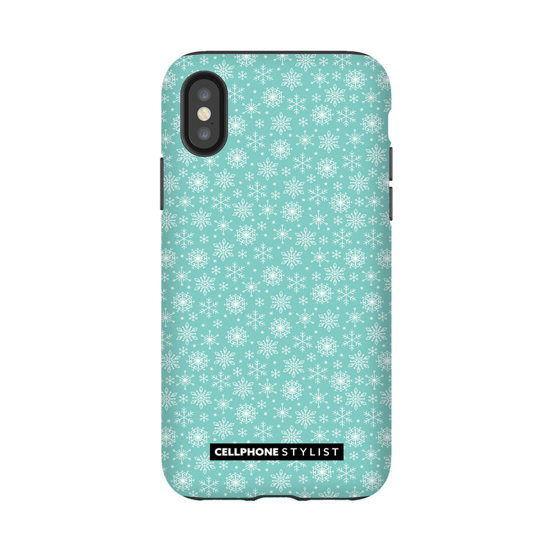 Merry Snowflakes (iPhone) - Phone Case iPhone XS Tough Gloss - Cellphone Stylist
