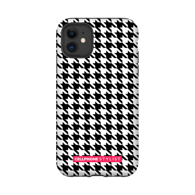 Mini Houndstooth - Black/White (iPhone) - Phone Case iPhone 11 Tough Matte - Cellphone Stylist