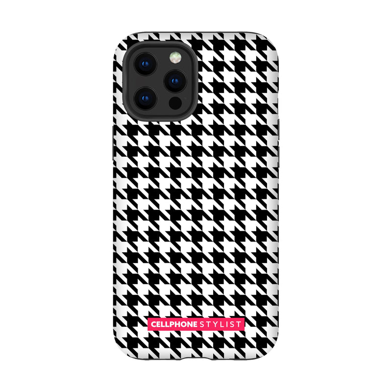 Mini Houndstooth - Black/White (iPhone) - Phone Case iPhone 12 Pro Max Tough Gloss - Cellphone Stylist
