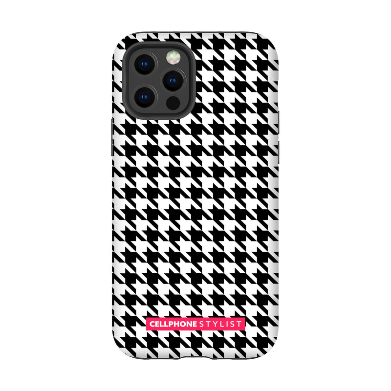 Mini Houndstooth - Black/White (iPhone) - Phone Case iPhone 12 Pro Tough Gloss - Cellphone Stylist