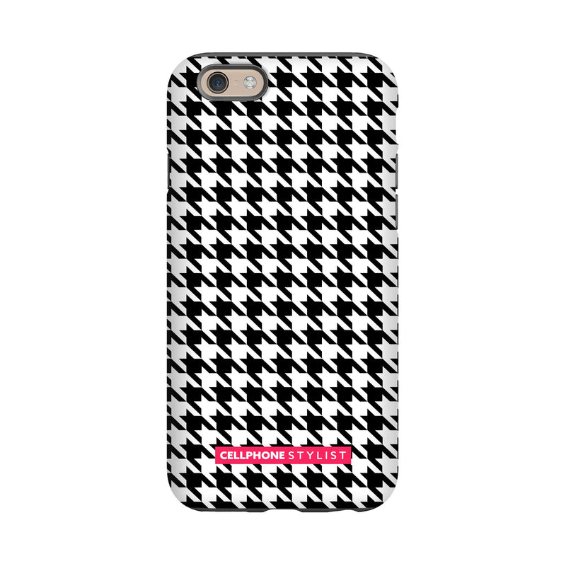 Mini Houndstooth - Black/White (iPhone) - Phone Case iPhone 6 Tough Matte - Cellphone Stylist