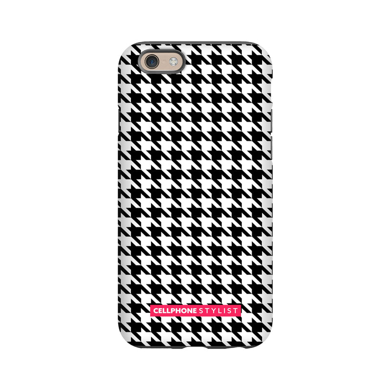Mini Houndstooth - Black/White (iPhone) - Phone Case iPhone 6S Tough Matte - Cellphone Stylist