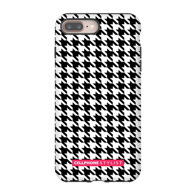 Mini Houndstooth - Black/White (iPhone) - Phone Case iPhone 8 Plus Tough Matte - Cellphone Stylist