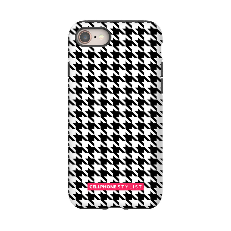 Mini Houndstooth - Black/White (iPhone) - Phone Case iPhone 8 Tough Matte - Cellphone Stylist