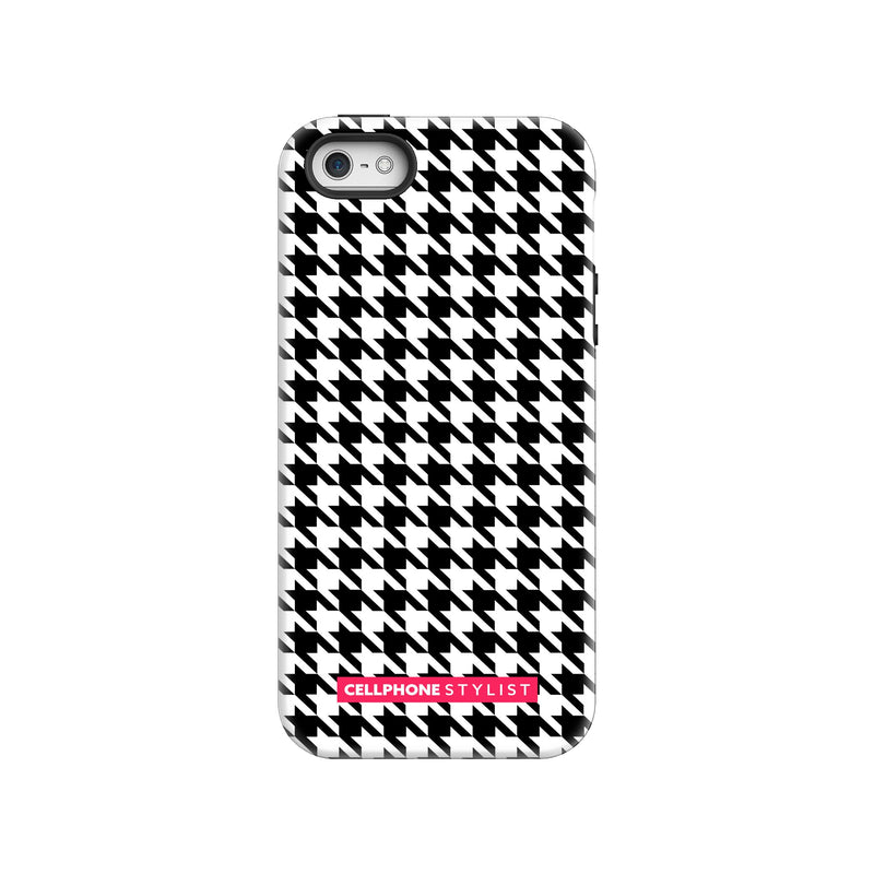 Mini Houndstooth - Black/White (iPhone) - Phone Case iPhone SE Tough Gloss - Cellphone Stylist