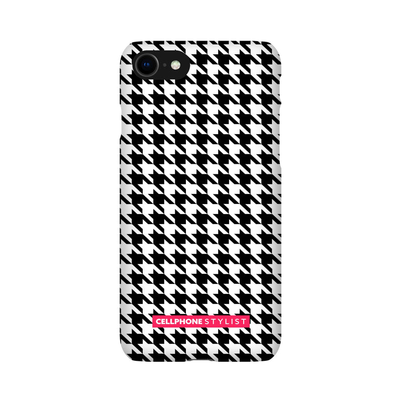 Mini Houndstooth - Black/White (iPhone) - Phone Case iPhone SE2 Snap Gloss - Cellphone Stylist