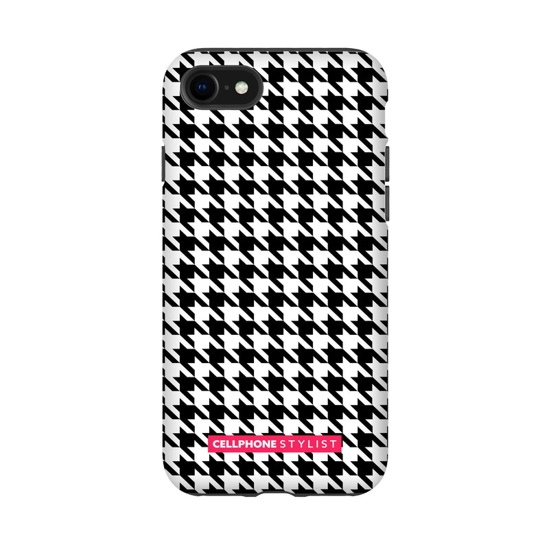 Mini Houndstooth - Black/White (iPhone) - Phone Case iPhone SE2 Tough Matte - Cellphone Stylist