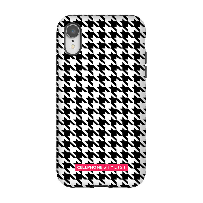 Mini Houndstooth - Black/White (iPhone) - Phone Case iPhone XR Tough Matte - Cellphone Stylist