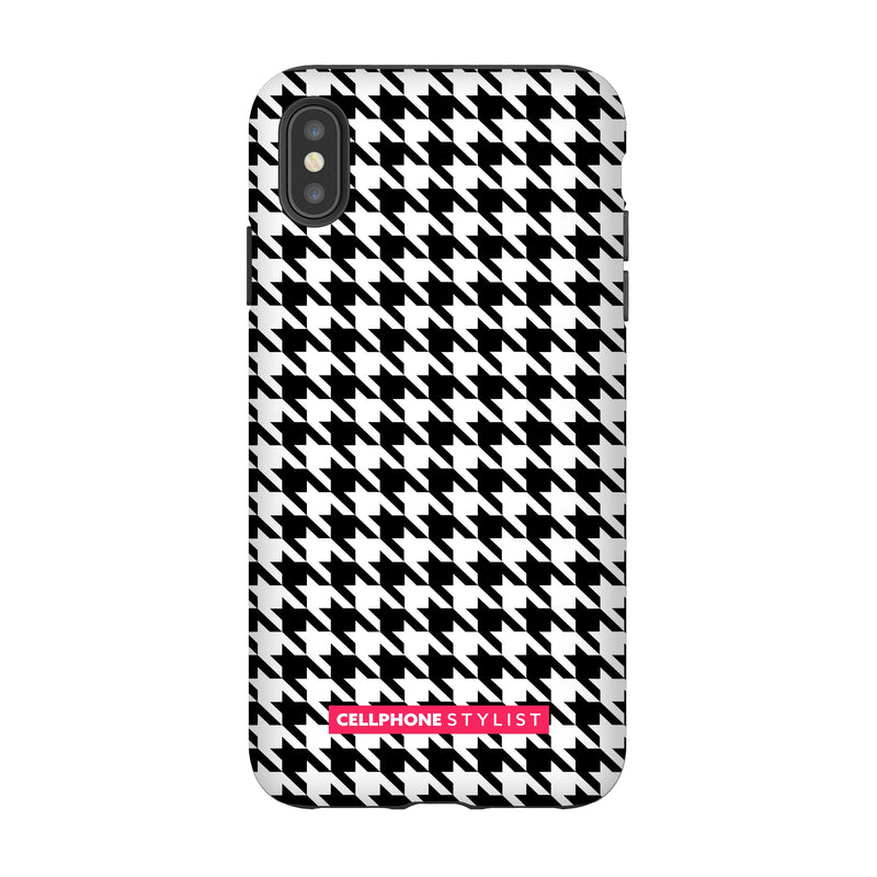 Mini Houndstooth - Black/White (iPhone) - Phone Case iPhone XS Max Tough Matte - Cellphone Stylist