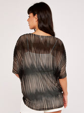 Load image into Gallery viewer, Apricot Stripe Mesh Oversized Top