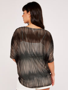Apricot Stripe Mesh Oversized Top