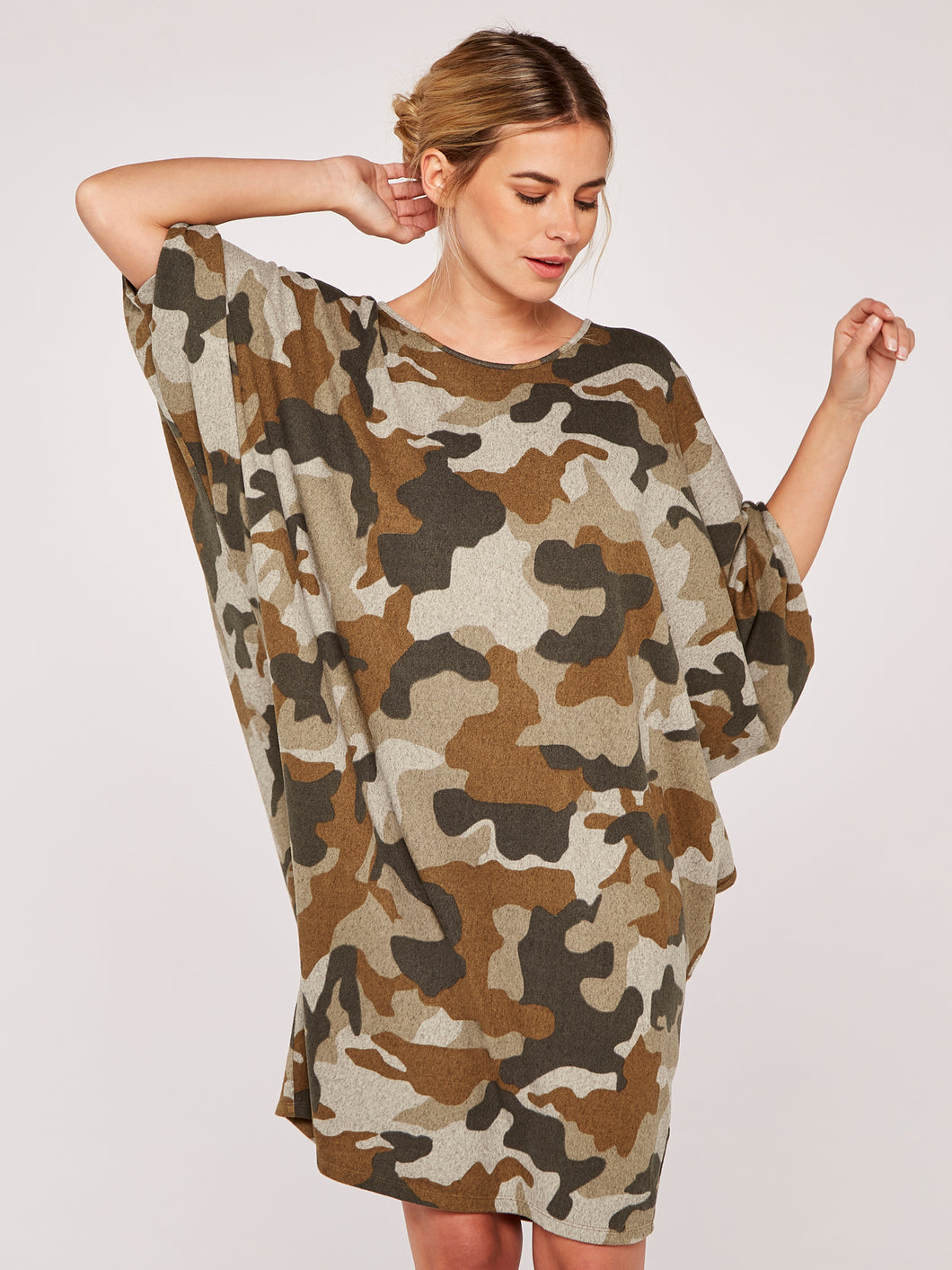 Apricot Camouflage Cozy Cocoon Dress