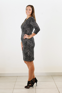 Speckled 3/4 Jersey  Sleeve Dress