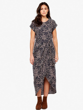 Load image into Gallery viewer, Apricot Abstract Print Crepe Wrap Dress