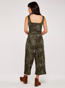 Apricot Zebra Stripe Square Neck Jumpsuit