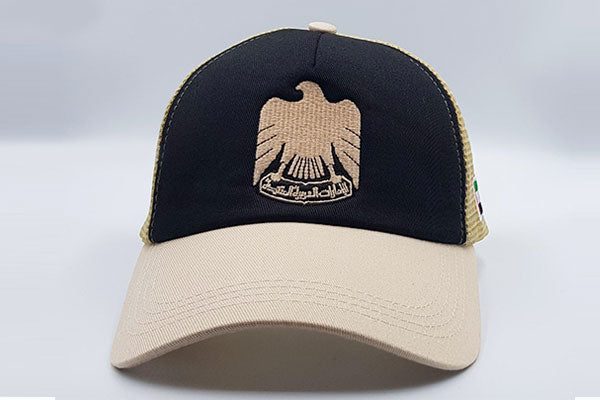 The UAE official emblem cap black/beige frontal view