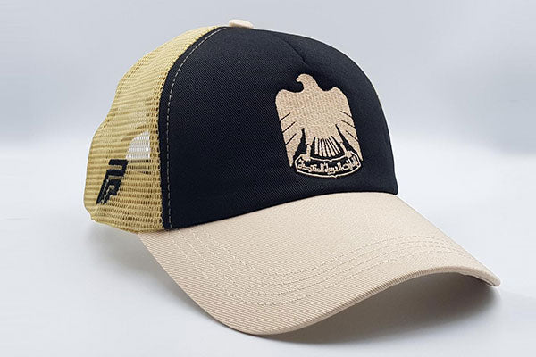 The UAE official emblem cap black/beige other sidelong view